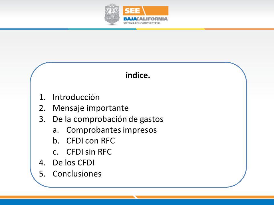 índice. Introducción. Mensaje importante. De la comprobación de gastos. Comprobantes impresos. CFDI con RFC.