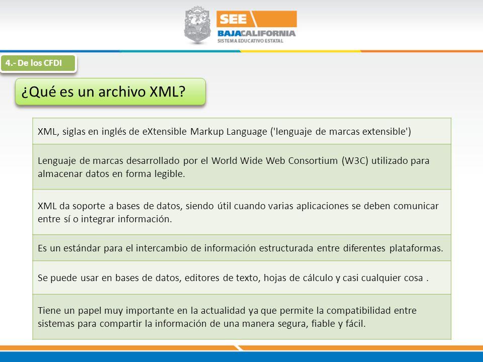 4.- De los CFDI ¿Qué es un archivo XML XML, siglas en inglés de eXtensible Markup Language ( lenguaje de marcas extensible )