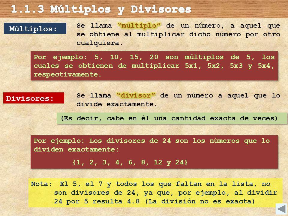 1.1.3 Múltiplos y Divisores Múltiplos: Divisores: