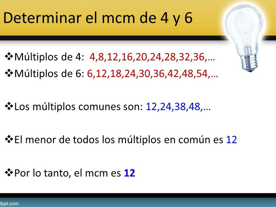 Determinar el mcm de 4 y 6 Múltiplos de 4: 4,8,12,16,20,24,28,32,36,…