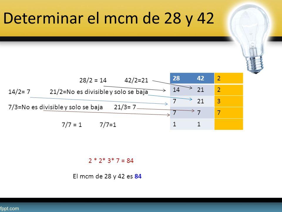 Determinar el mcm de 28 y 42 28 42 2 14 21 7 3 1 28/2 = 14 42/2=21