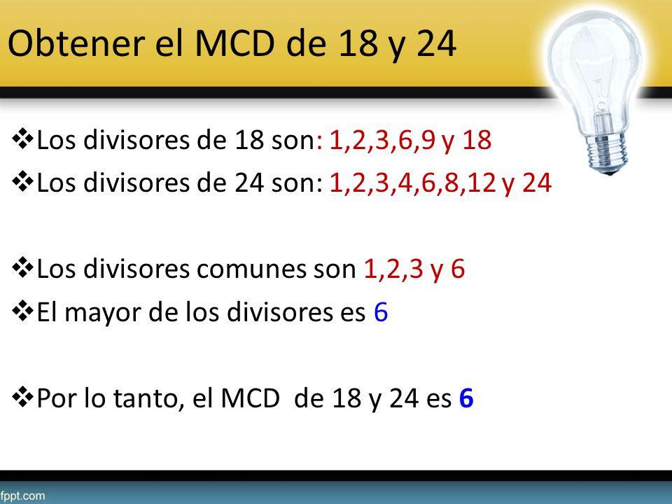 Obtener el MCD de 18 y 24 Los divisores de 18 son: 1,2,3,6,9 y 18