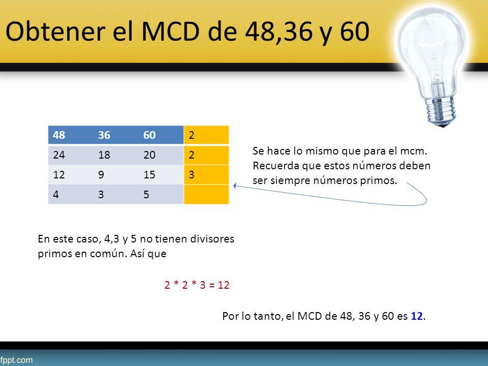 Obtener el MCD de 48,36 y 60 48. 36. 60. 2. 24. 18. 20. 12. 9. 15. 3. 4. 5.