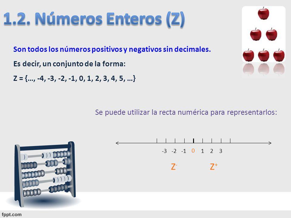 1.2. Números Enteros (Z) Z- Z+