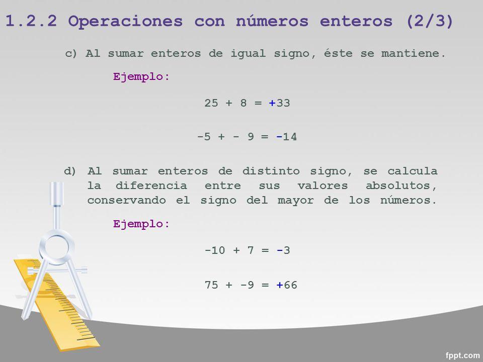 1.2.2 Operaciones con números enteros (2/3)