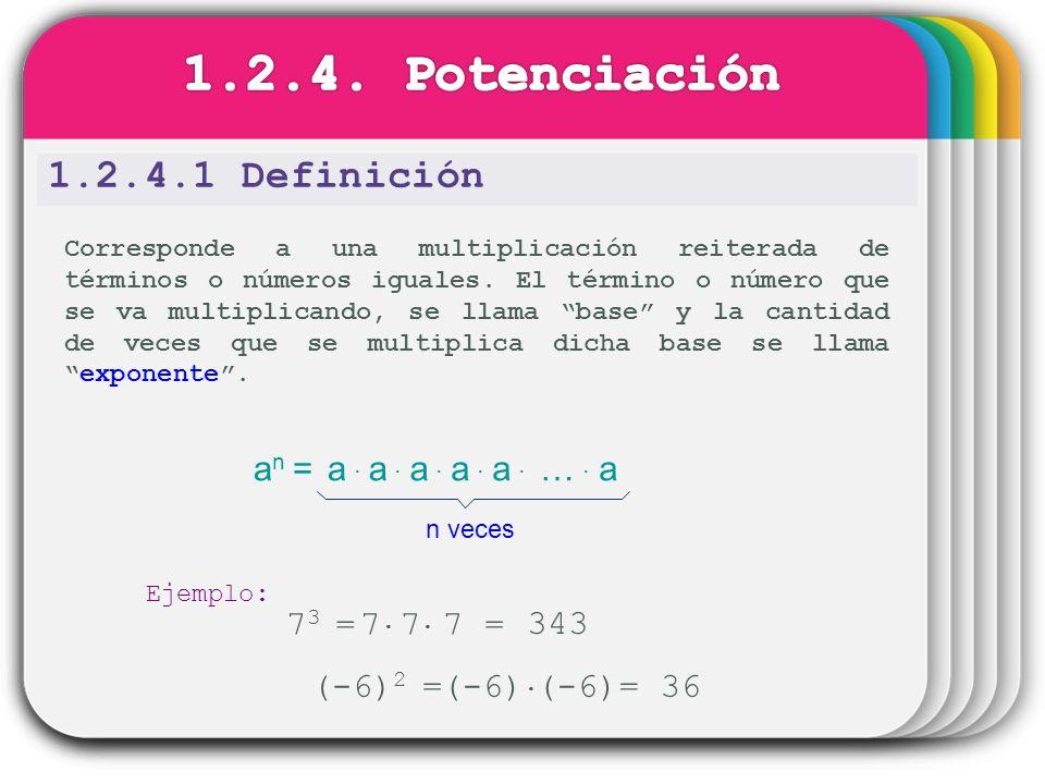 1.2.4. Potenciación 1.2.4.1 Definición an = a ∙ a ∙ … 73 = 7∙ 7∙ 7 =