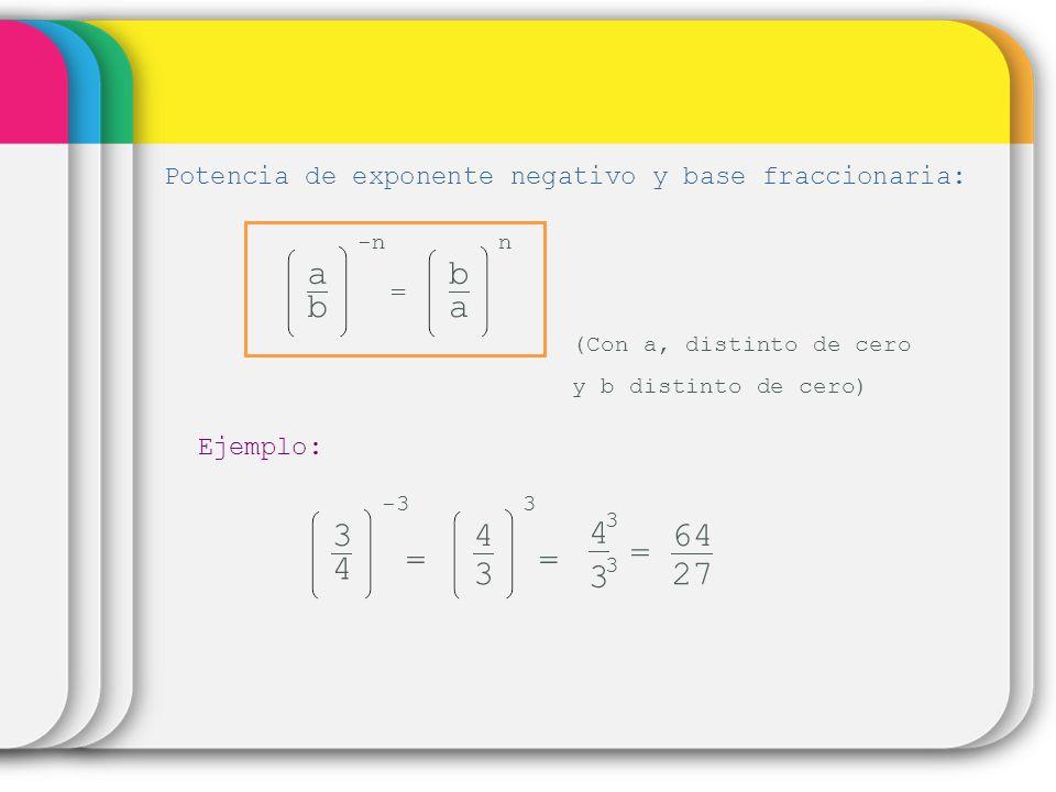 Potencia de exponente negativo y base fraccionaria: