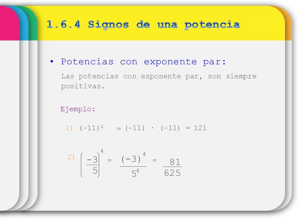1.6.4 Signos de una potencia Potencias con exponente par: