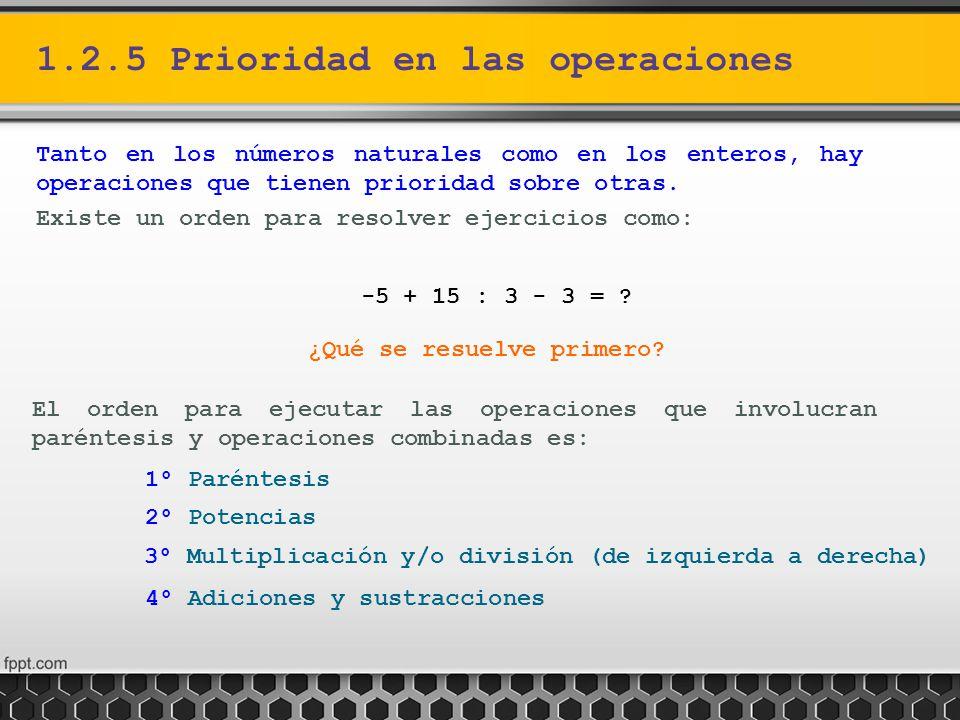 1.2.5 Prioridad en las operaciones