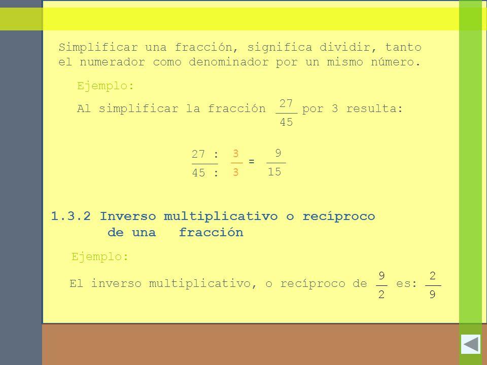 1.3.2 Inverso multiplicativo o recíproco de una fracción