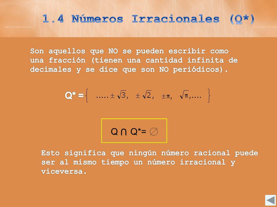 1.4 Números Irracionales (Q*)
