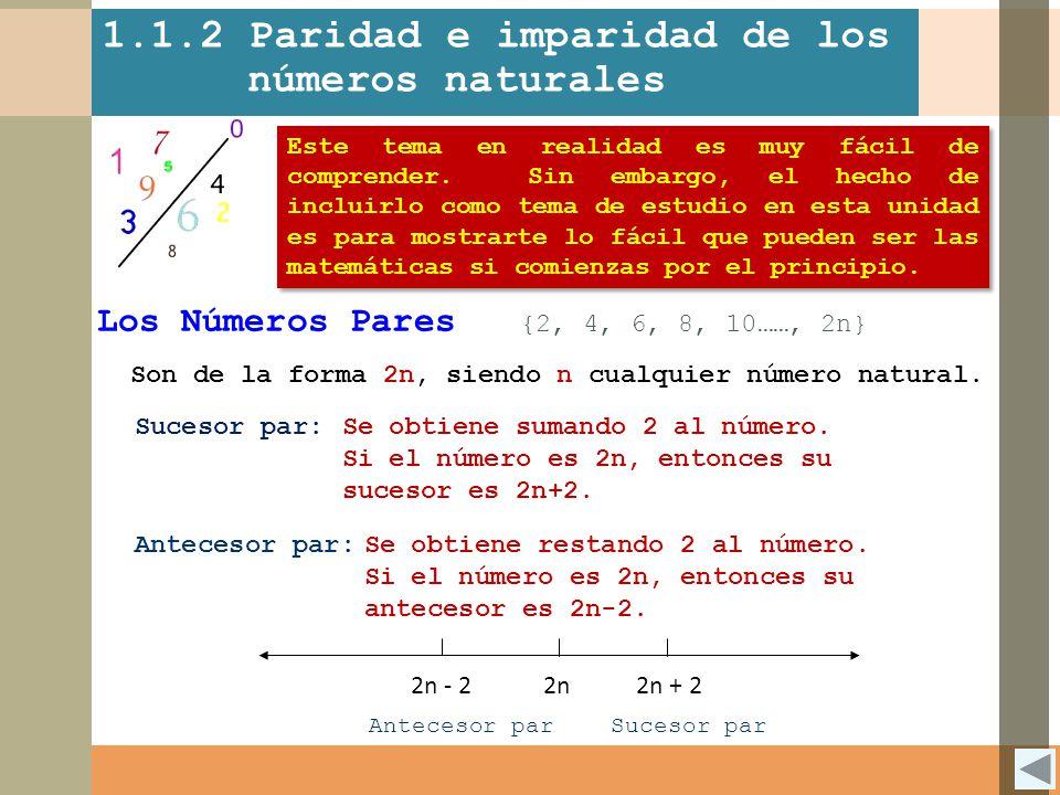 1.1.2 Paridad e imparidad de los números naturales