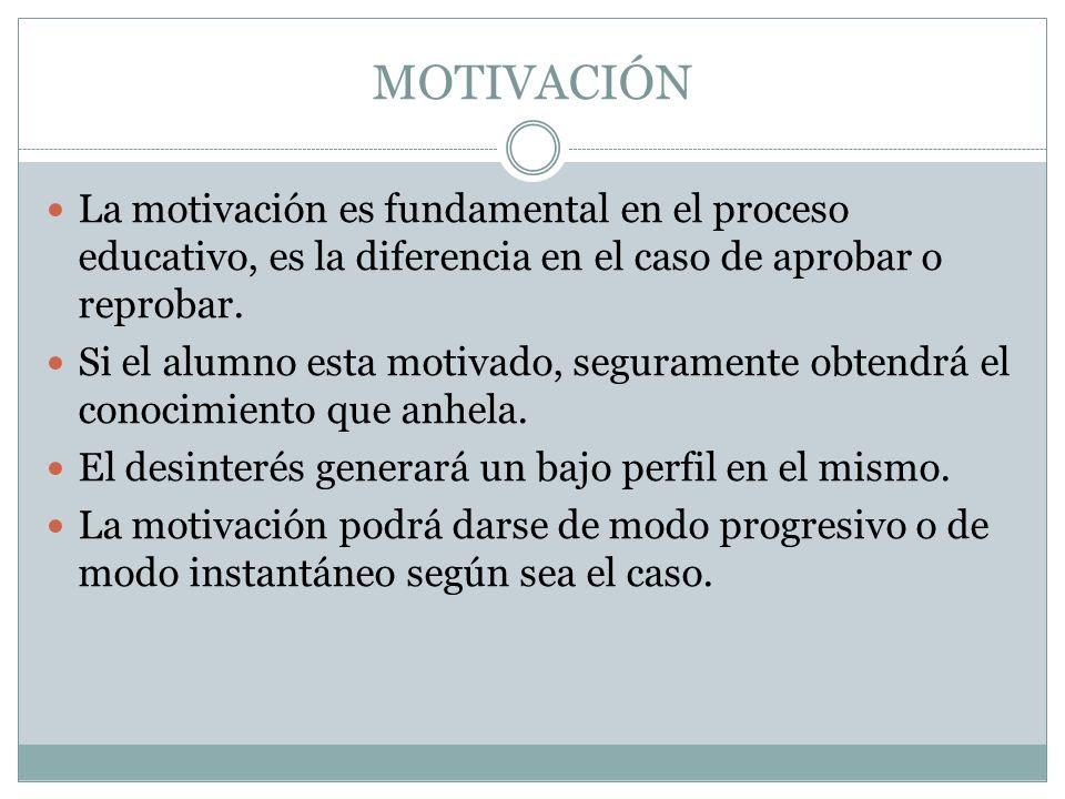 MOTIVACIÓN La motivación es fundamental en el proceso educativo, es la diferencia en el caso de aprobar o reprobar.