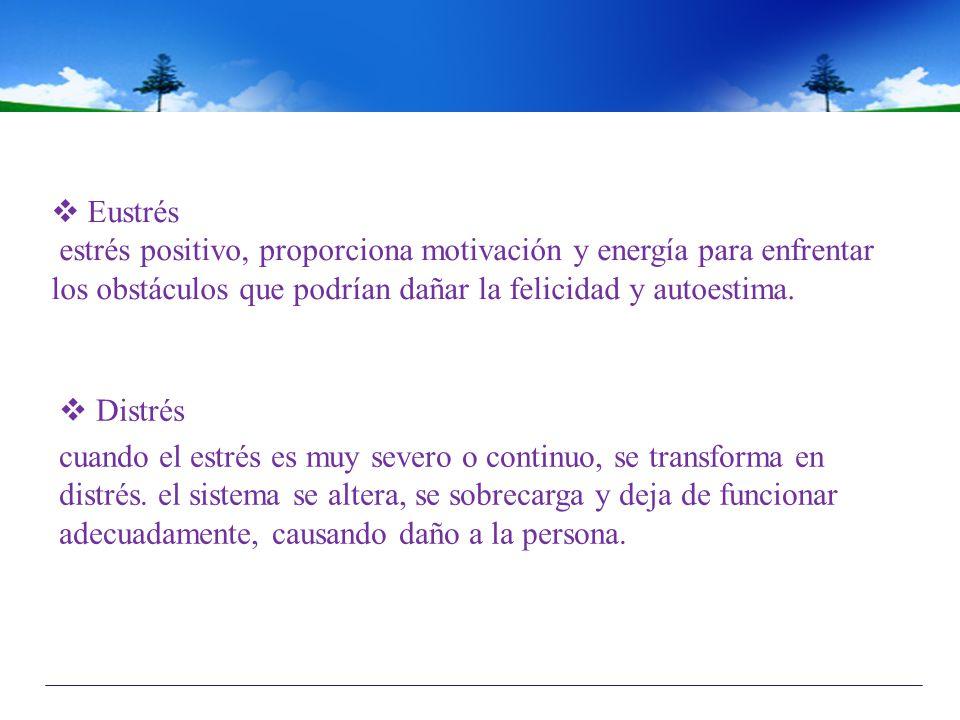 Eustrés estrés positivo, proporciona motivación y energía para enfrentar los obstáculos que podrían dañar la felicidad y autoestima.