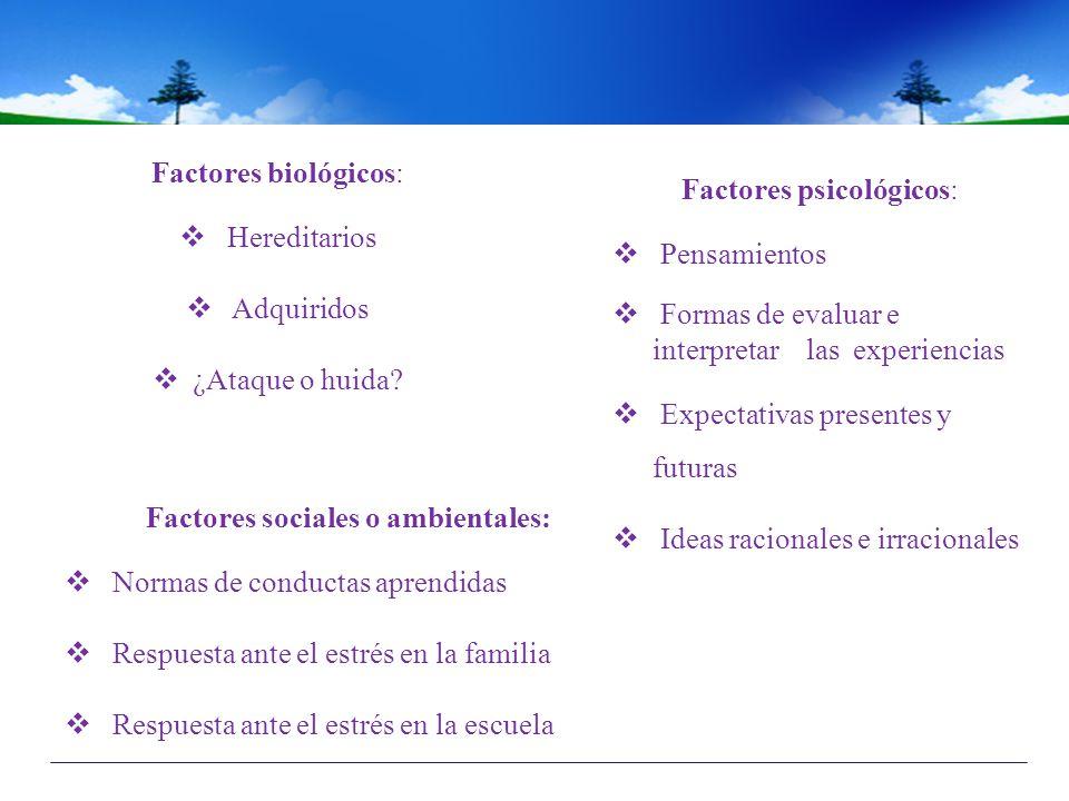 Factores sociales o ambientales: