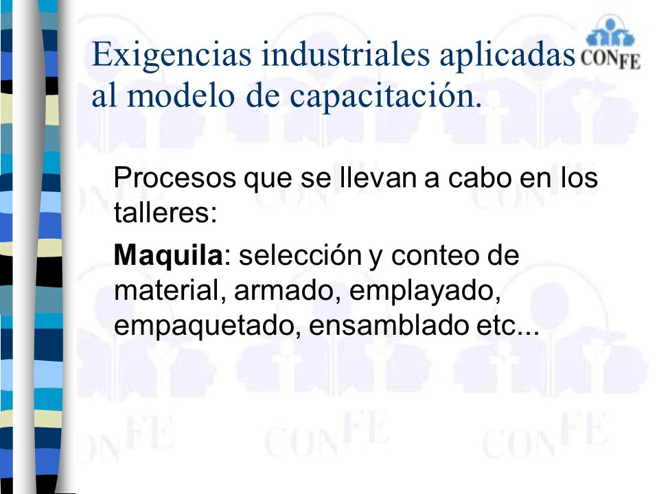 Exigencias industriales aplicadas al modelo de capacitación.