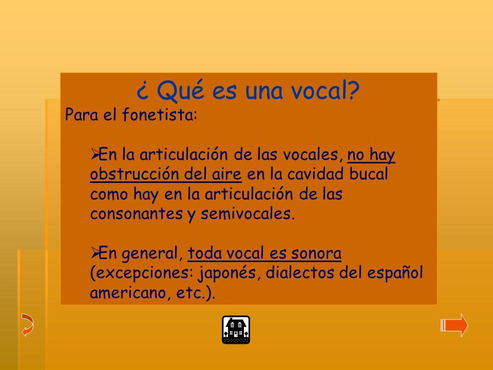 ¿ Qué es una vocal Para el fonetista: