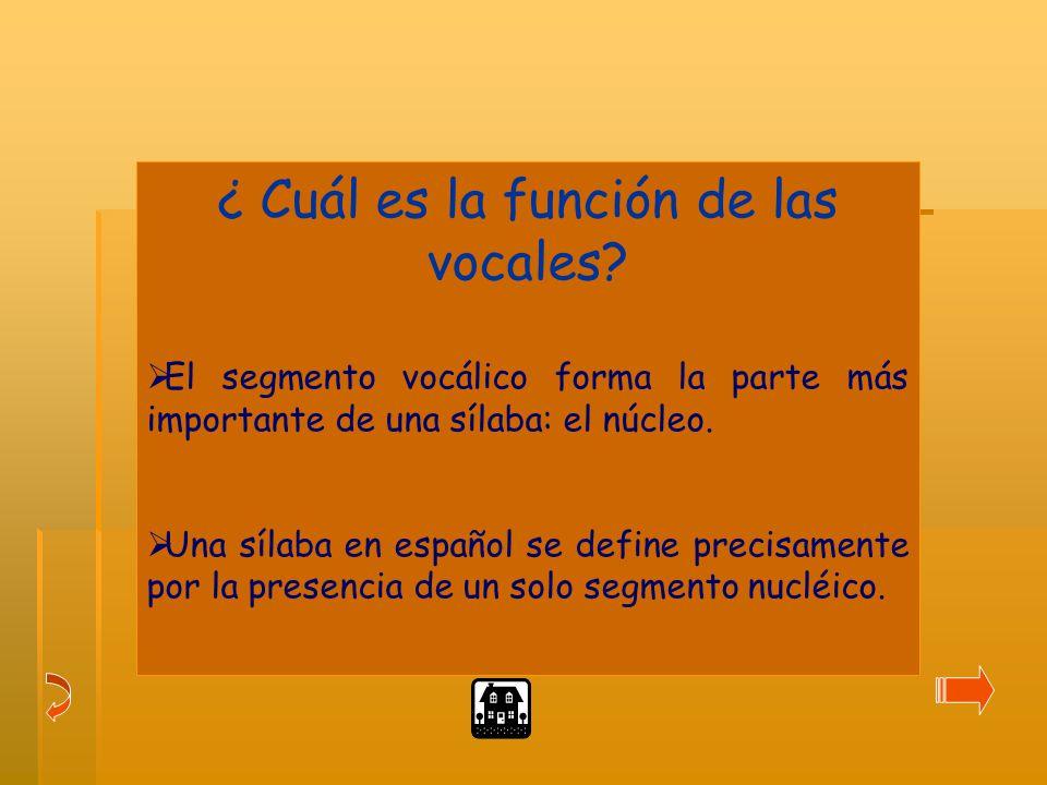 ¿ Cuál es la función de las vocales