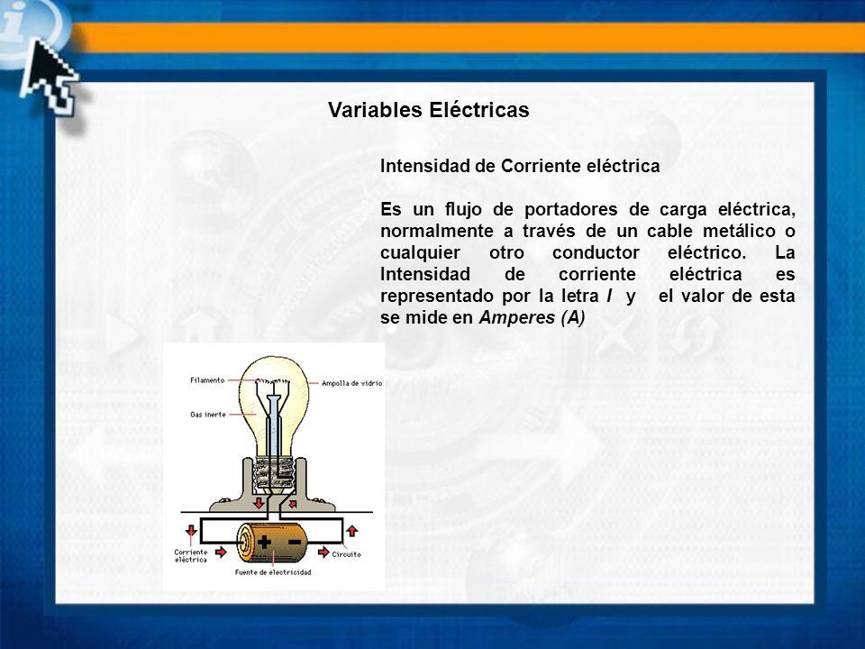 Variables Eléctricas Intensidad de Corriente eléctrica