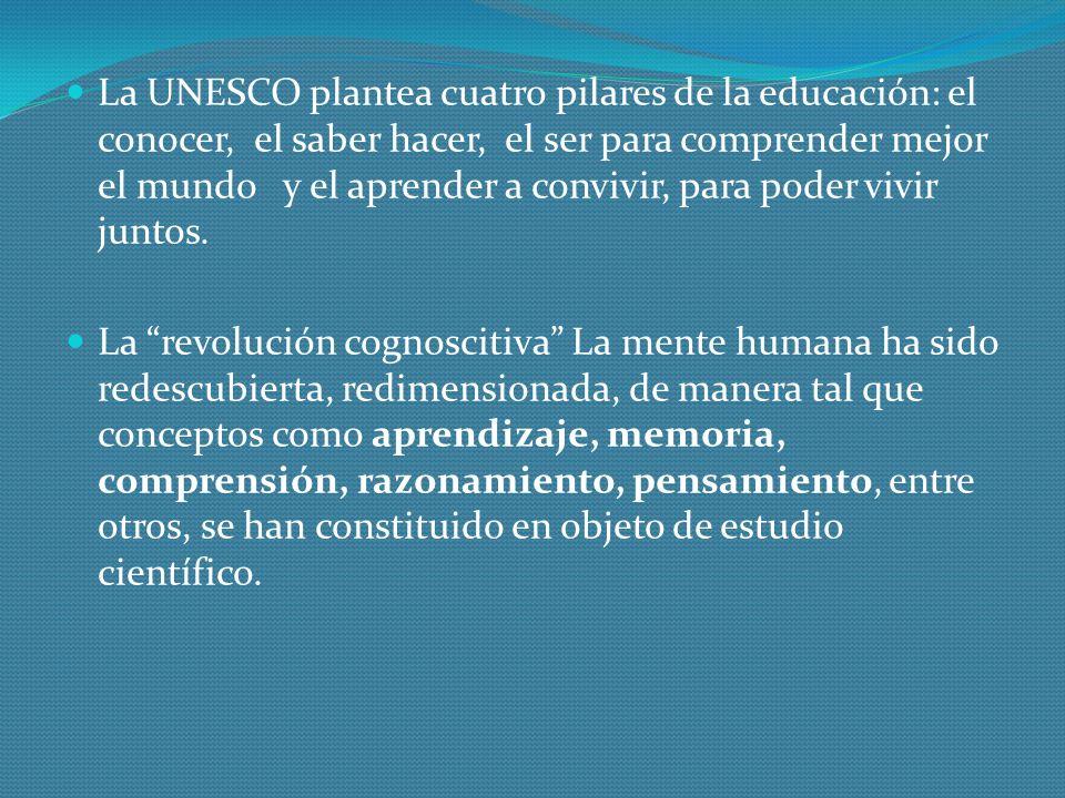 La UNESCO plantea cuatro pilares de la educación: el conocer, el saber hacer, el ser para comprender mejor el mundo y el aprender a convivir, para poder vivir juntos.