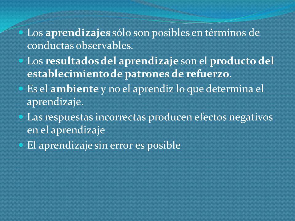 Los aprendizajes sólo son posibles en términos de conductas observables.