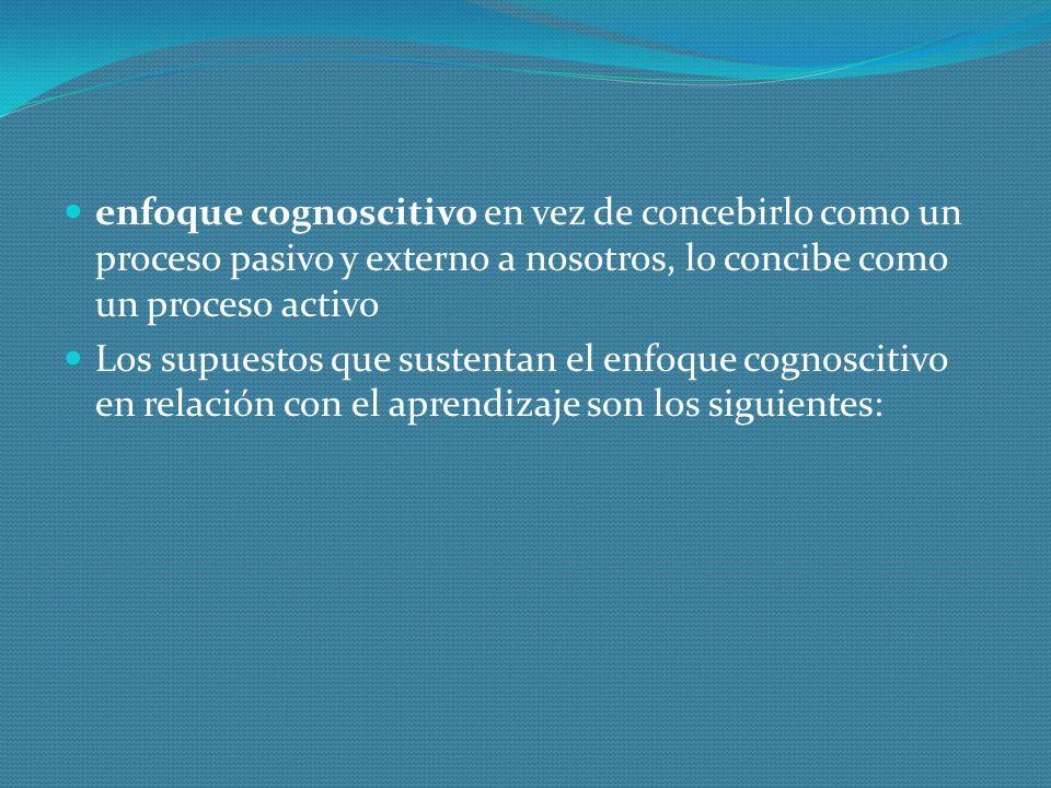 enfoque cognoscitivo en vez de concebirlo como un proceso pasivo y externo a nosotros, lo concibe como un proceso activo
