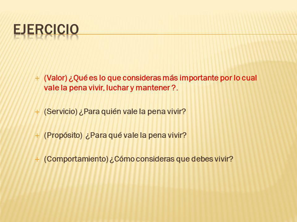 EJERCICIO (Valor) ¿Qué es lo que consideras más importante por lo cual vale la pena vivir, luchar y mantener .