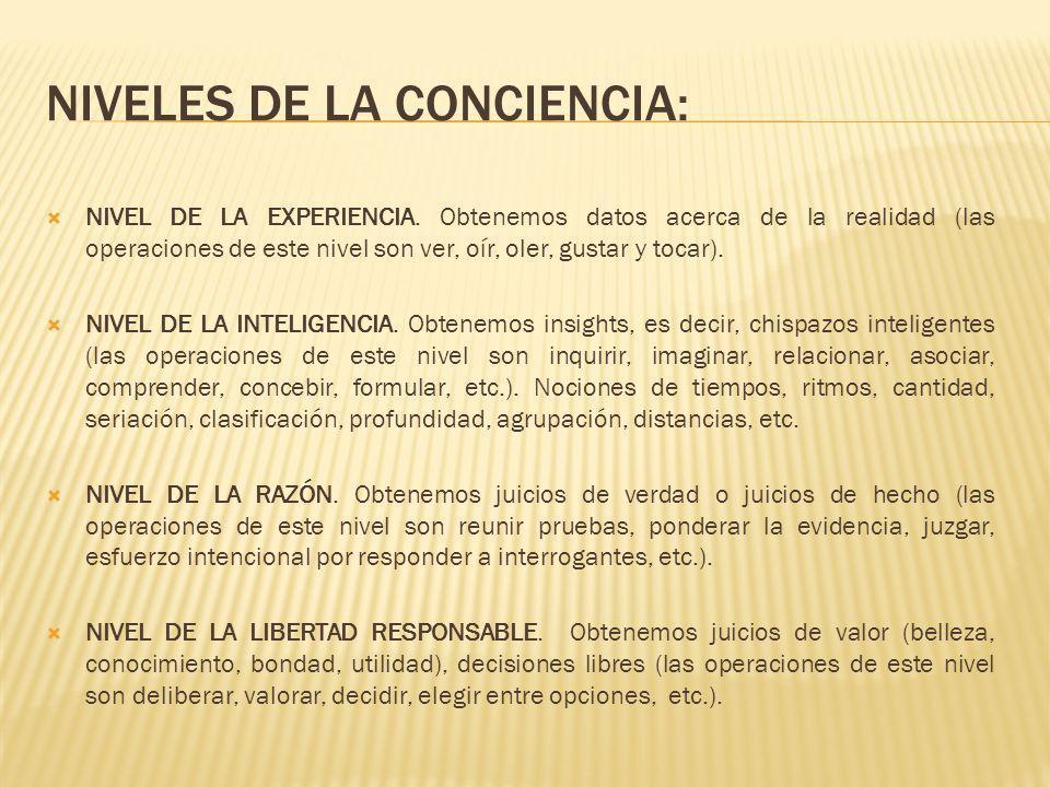 NIVELES DE LA CONCIENCIA: