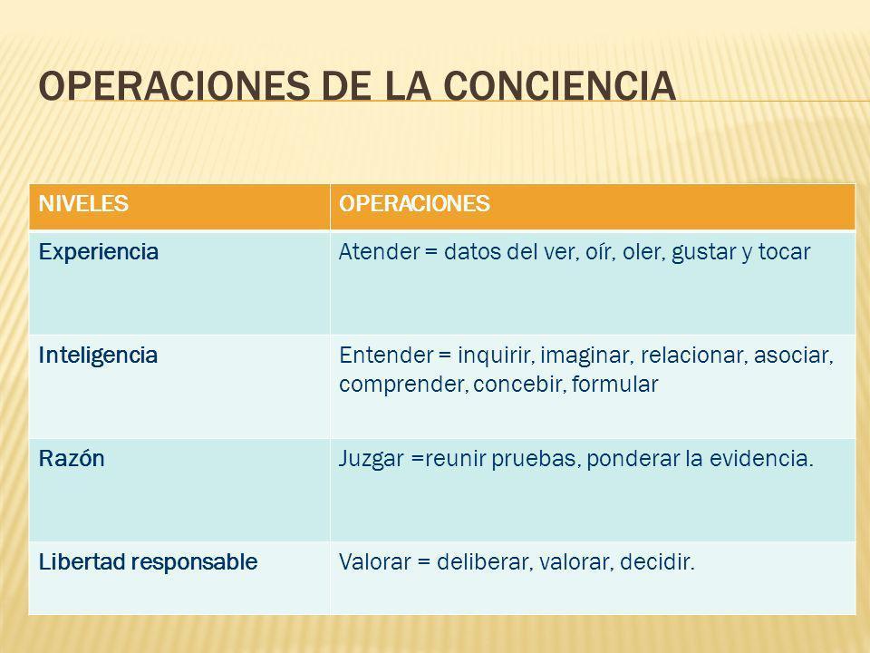 OPERACIONES DE LA CONCIENCIA