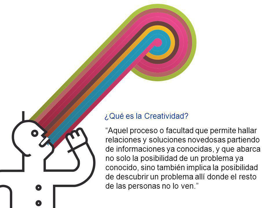 ¿Qué es la Creatividad Aquel proceso o facultad que permite hallar relaciones y soluciones novedosas partiendo.
