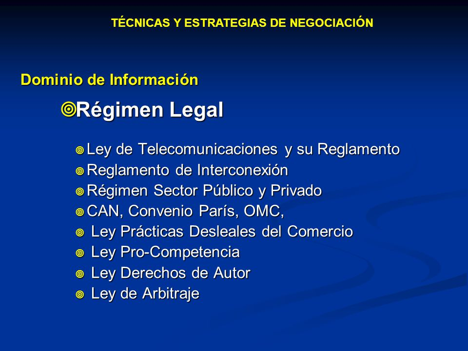 Régimen Legal Dominio de Información
