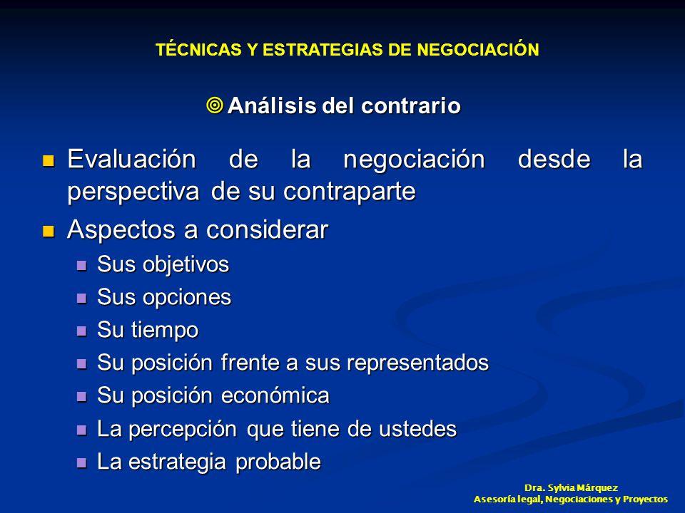 Evaluación de la negociación desde la perspectiva de su contraparte