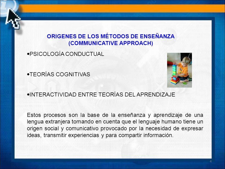 ORIGENES DE LOS MÉTODOS DE ENSEÑANZA (COMMUNICATIVE APPROACH)