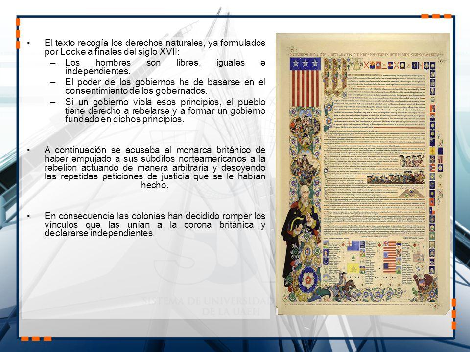 El texto recogía los derechos naturales, ya formulados por Locke a finales del siglo XVII: