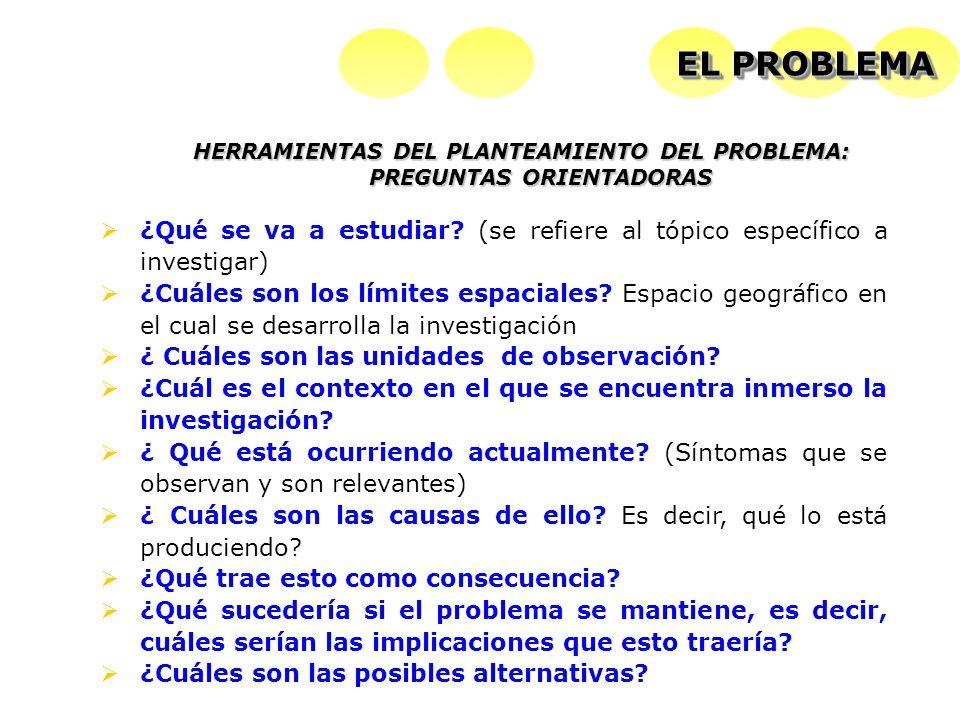 HERRAMIENTAS DEL PLANTEAMIENTO DEL PROBLEMA: PREGUNTAS ORIENTADORAS