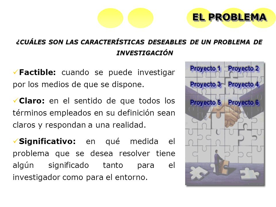 EL PROBLEMA ¿CUÁLES SON LAS CARACTERÍSTICAS DESEABLES DE UN PROBLEMA DE INVESTIGACIÓN.