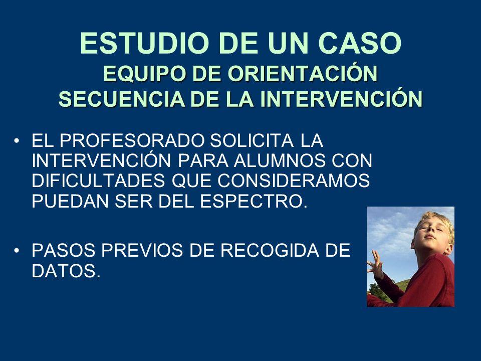 ESTUDIO DE UN CASO EQUIPO DE ORIENTACIÓN SECUENCIA DE LA INTERVENCIÓN