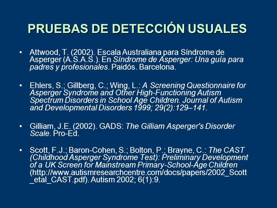 PRUEBAS DE DETECCIÓN USUALES