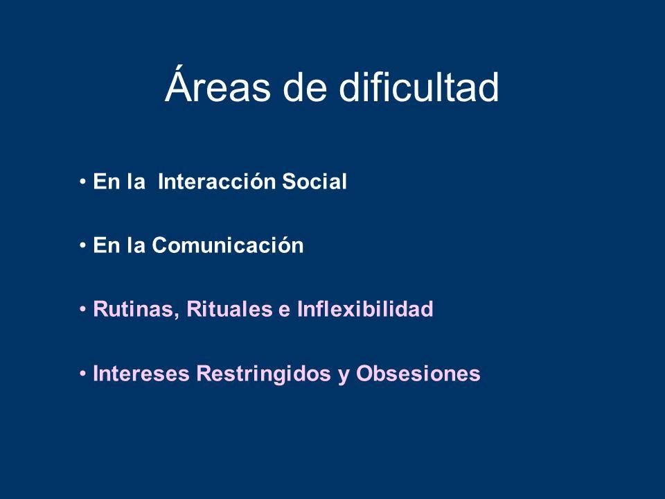 Áreas de dificultad En la Interacción Social En la Comunicación