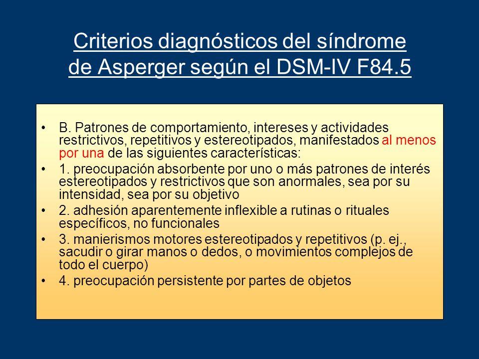 Criterios diagnósticos del síndrome de Asperger según el DSM-IV F84.5