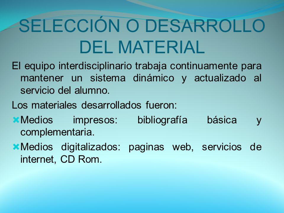 SELECCIÓN O DESARROLLO DEL MATERIAL