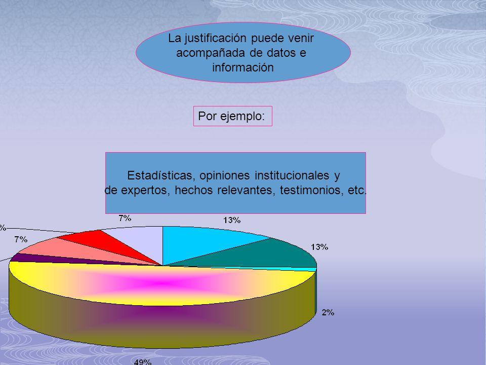 La justificación puede venir acompañada de datos e información