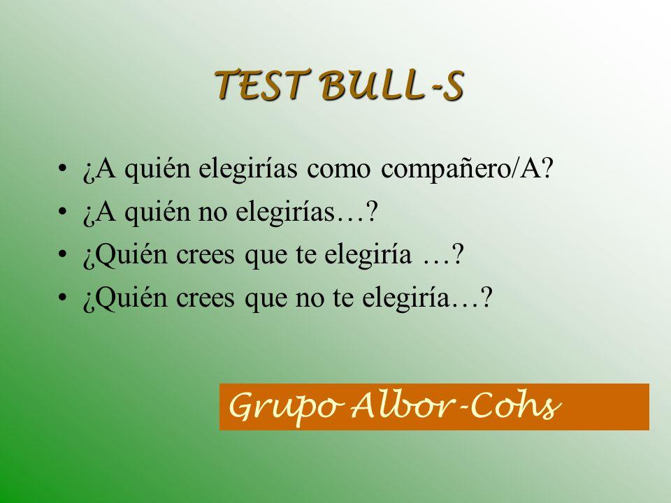 TEST BULL-S Grupo Albor-Cohs ¿A quién elegirías como compañero/A