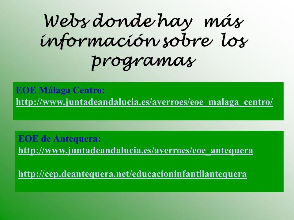 Webs donde hay más información sobre los programas