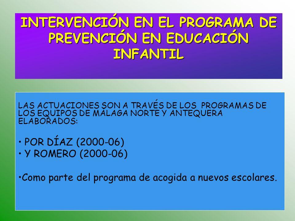INTERVENCIÓN EN EL PROGRAMA DE PREVENCIÓN EN EDUCACIÓN INFANTIL