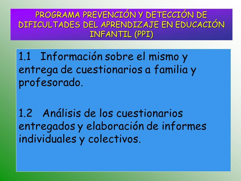 PROGRAMA PREVENCIÓN Y DETECCIÓN DE DIFICULTADES DEL APRENDIZAJE EN EDUCACIÓN INFANTIL (PPI)