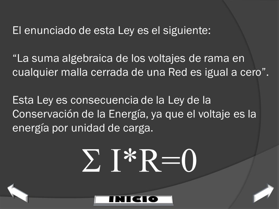 El enunciado de esta Ley es el siguiente: La suma algebraica de los voltajes de rama en cualquier malla cerrada de una Red es igual a cero . Esta Ley es consecuencia de la Ley de la Conservación de la Energía, ya que el voltaje es la energía por unidad de carga.