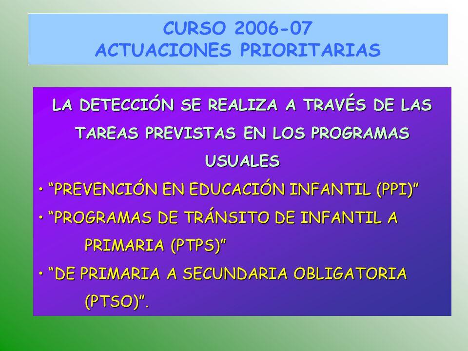 CURSO 2006-07 ACTUACIONES PRIORITARIAS