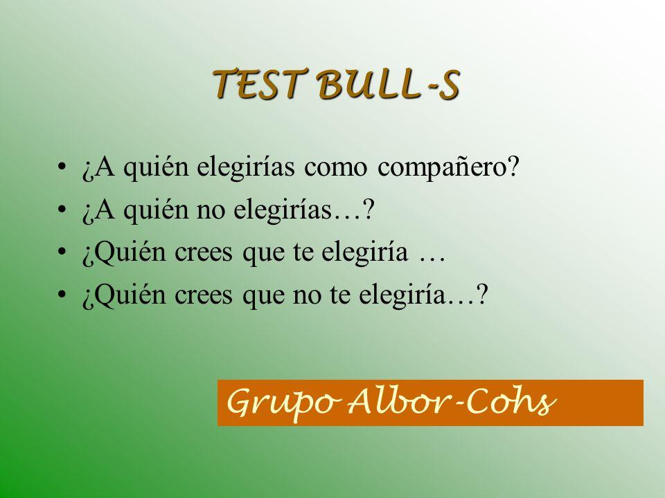 TEST BULL-S Grupo Albor-Cohs ¿A quién elegirías como compañero