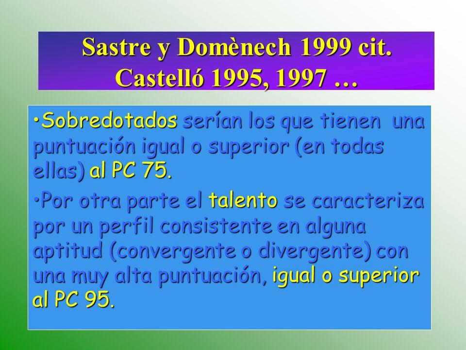 Sastre y Domènech 1999 cit. Castelló 1995, 1997 …